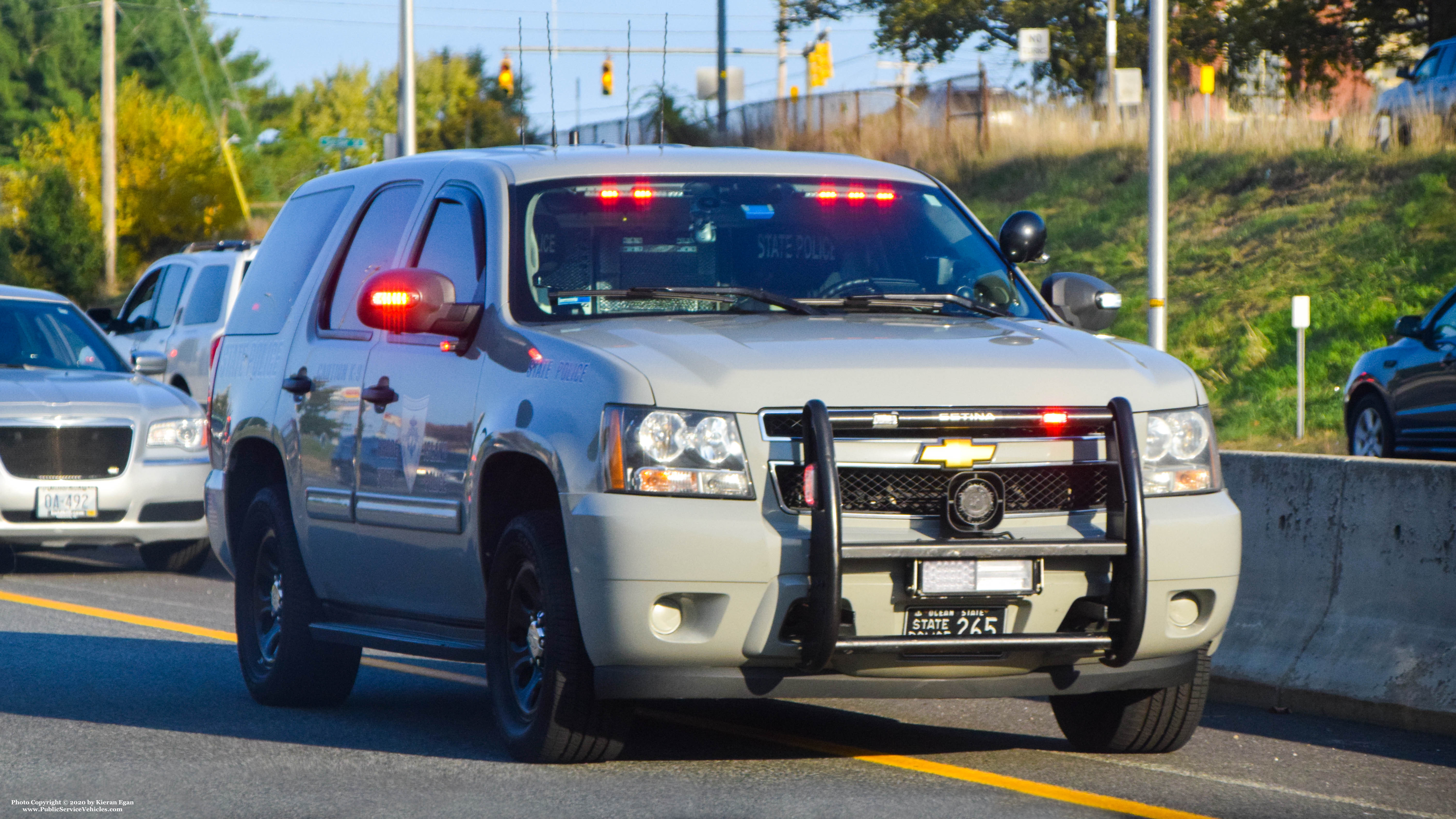 A photo  of Rhode Island State Police             Cruiser 265, a 2013 Chevrolet Tahoe             taken by Kieran Egan