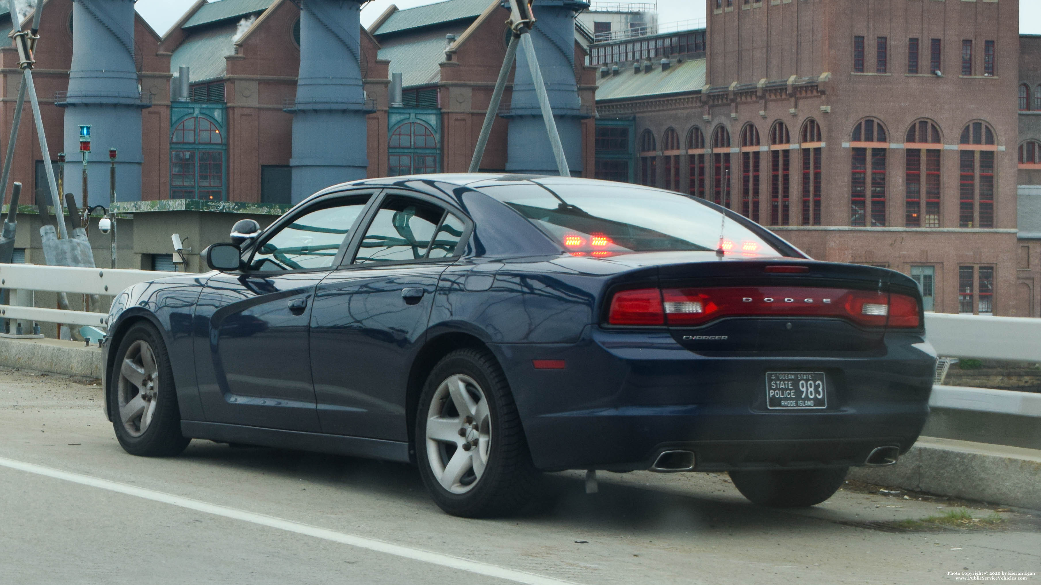 A photo  of Rhode Island State Police             Cruiser 983, a 2013 Dodge Charger             taken by Kieran Egan