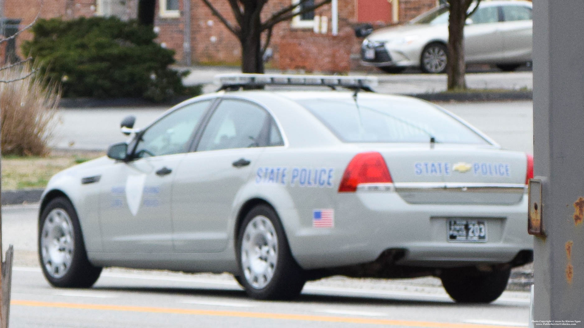 A photo  of Rhode Island State Police             Cruiser 203, a 2013 Chevrolet Caprice             taken by Kieran Egan